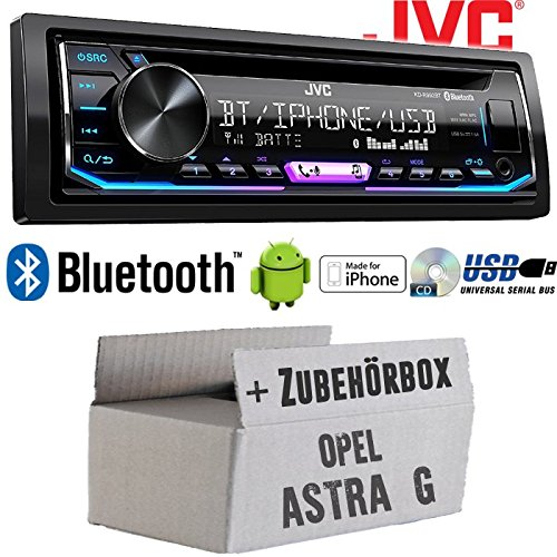 Autoradio Radio JVC KD-R992BT - Bluetooth | MP3 | USB | Android | Multicolor - Einbauzubehör - Einbauset für Opel Astra G - JUST SOUND best choice for caraudio