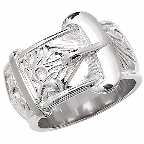 Men's Buckle Ring Heavy Solid Sterling Silver Patterned Gents Band Full British Hallmark (Z)