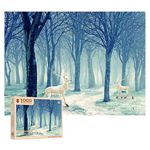 1000 Piece Wooden Jigsaw Puzzle - Deer in The Snow Puzzle - Christmas Deer - Forest Elk White Fawn Puzzle for Kids Adult Teens Reduced Pressure Toy Gift
