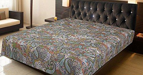 Stylo Culture Kantha - Colcha para cama de matrimonio, color gris, algodón, cosida a mano, diseño de cachemira, color gris