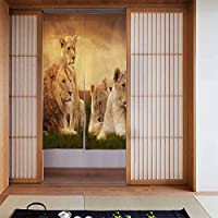 FJTP日本ののれん戸口カーテンサンセットドアカーテンで休むアフリカのライオンキッチンビストロパーティションシェーディング家の装飾のためのタペストリー