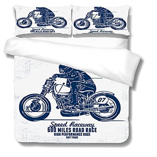 ZJJIAM Ropa de cama infantil 3D retro motocicleta dibujos animados animación Juego de funda nórdica (1 funda nórdica + 2 fundas de almohada) Doble funda nórdica (M4,140 x 210 cm + 2 x 50 x 75 cm)