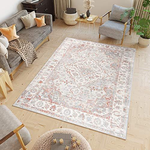 Tapiso Valley Alfombra de Salón Comedor Dormitorio Diseño Clásico Salmón Gris Crema Ornamental Suave 140 x 200 cm