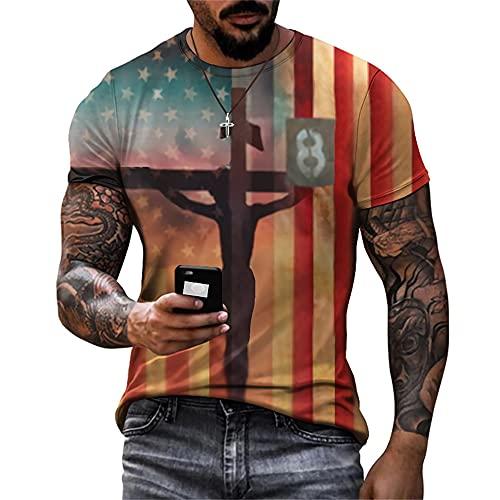 Deportiva Camisa Hombre Verano Creativa Novedad Estampado Hombre Musculosa Shirt Básico Estiramiento Cuello Redondo Manga Corta Funcional Shirt Casual Secado Rápido Hombre T-Shirt TTA23-39 3XL
