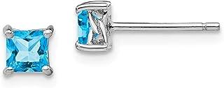 925 Sterling Silver 4mm Princess Swiss Blue Topaz Post Stud Earrings Birthstone December Prong Fine Jewelry For Women
