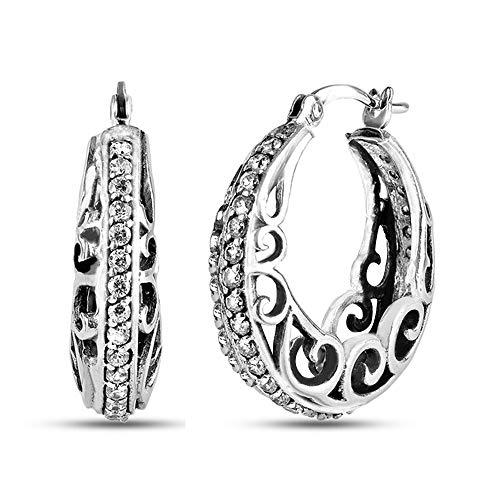 LeCalla Sterling Silver Jewelry CZ Stone Studded Filigree Design Hoop Earrings for Women