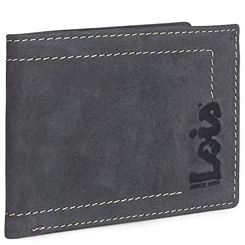 Lois - Herrenbörse aus Leder mit RFID-Brieftasche. Brieftasche aus echtem Leder. Dokumentationskarten Tickets. Geschenkkarton. Qualität und Design. 201508, Color Schwarz