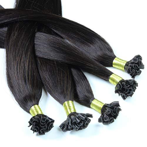 Hair2Heart 50 x 1g extensions cheveux keratine à chaud - 60cm, couleur #1b Noir naturel, lisse