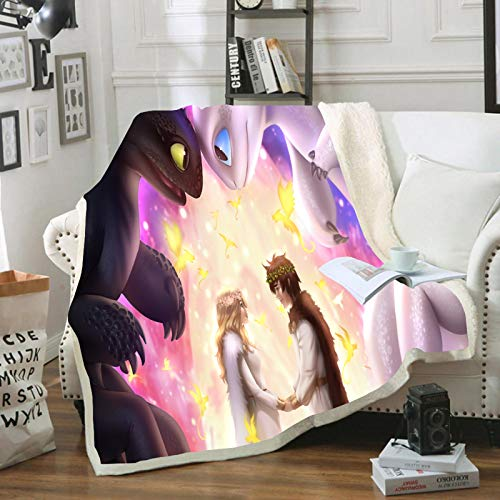 WTTING - Manta de franela cómoda para el tren de tu dragón, ideal para dormitorios, sofás, regalos para los niños, 150 x 200 cm