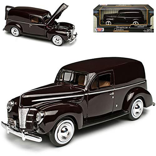 Motormax Ford Sedan Delivery Lieferwagen 1940 Rot Braun Oldtimer 1/24 Modellauto Modell Auto