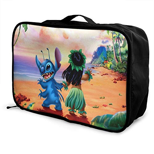 Lilo and Paable Travel Duffel Bag Folle Carry Storage Lage Tote Lightweight Large Caity Portable Lage Bag for Suitcase Trolley Handles
