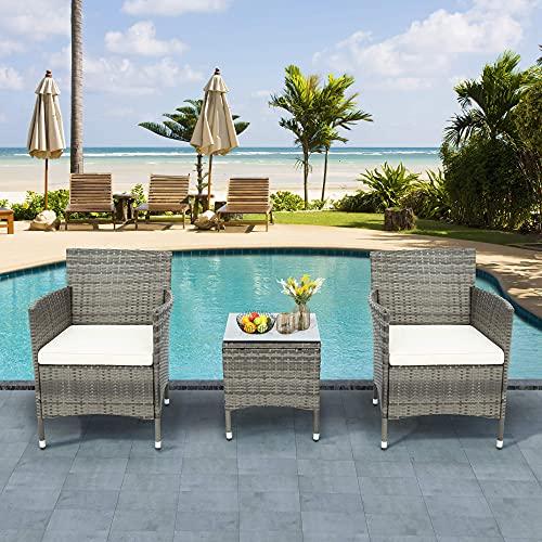 Azkoeesy Polyrattan Balkonmöbel Set 2 Personen–1 Tisch & 2 Sessel–Wetterfeste Gartenmöbel Set–für Garten, Balkon & Terrasse (Grau-Rattan)