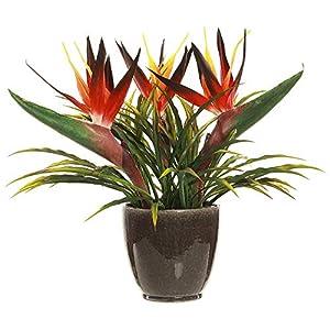 14″ Hx17 W Bird of Paradise Silk Flower Arrangement w/Pot -Red/Orange