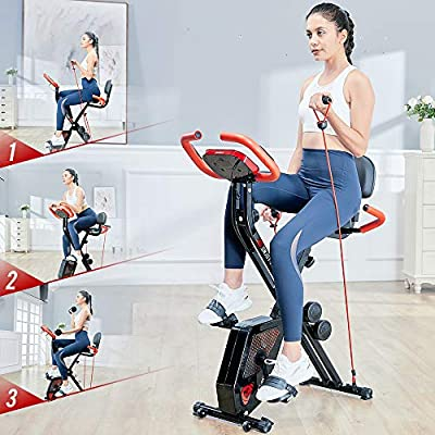 pooboo Folding Exercise Bike Upright Convertible Magnetic Bike