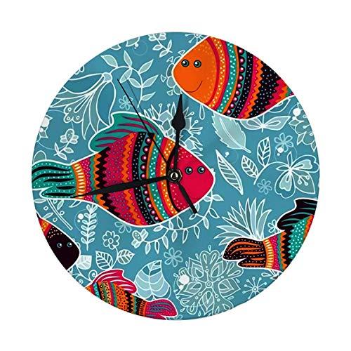 FETEAM Reloj de Pared Moderno, Grande, de 9,8 Pulgadas, con Peces Decorativos, Fondo Marino Colorido, Reloj Redondo de Cocina