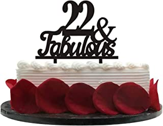 22&Fabulous Birthday Cake Topper   22nd Party Decoration Ideas   Wedding, Birthday, Anniversary, Party Supplies Topper Decoration   Classical Black Acrylic