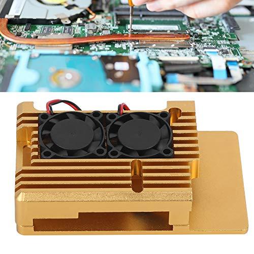 Weikeya Caja confidencial, Raspberry Pi placa base shell caja frambuesa Pi3 generación b tipo 2b/3b aleación de aluminio enfriamiento shell sub-accesorios Armor Case con aleación de aluminio (oro)