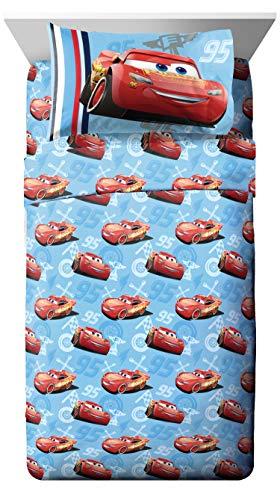 Jay Franco Disney/Pixar Cars 95 Full 4 Piece Blue Sheet Set with Lightning McQueen (Offical Disney/Pixar Product)