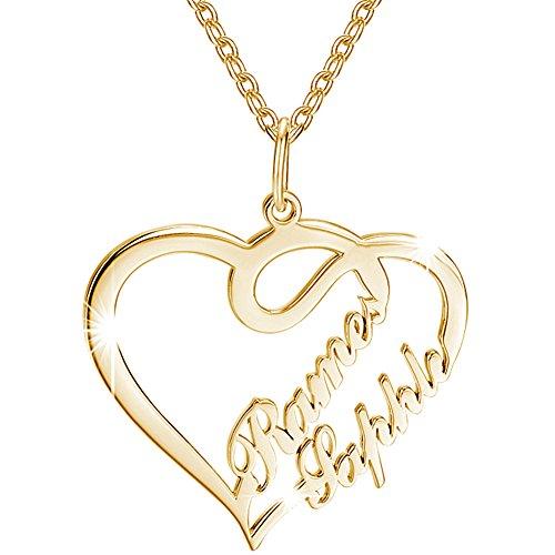 Soufeel Damen Kette mit Herz Anhänger Offen Halskette Namenskette mit Ihr Namen 925 Sterling Silber 14K vergoldet Geschenk für Frauen