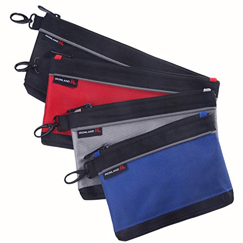 IRONLAND Utility Bag, Zipper Tool Bags Waterproof Heavy Duty in Blue, Grey, Red, Black 1680D, 4 Pieces Tool Bags (7/9/10/12 Inch)