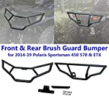 NO7RUBAN Front and Rear Brush Guard Bumper Set Fits for 2014-19 Polaris Sportsman 450 570 & ETX Bumper Protector Brush Grille Guard