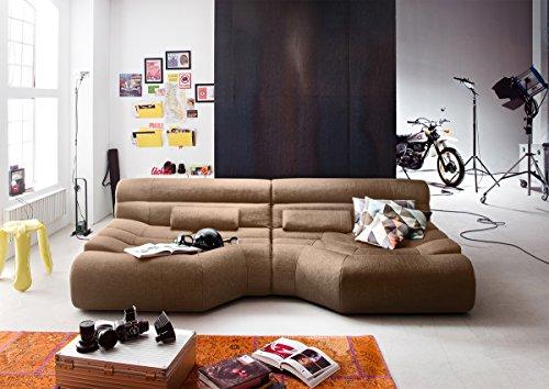 XXL Sofa Tara grote sofa woonlandschap stof beige met kussen 292x75x148cm (B/H/D)