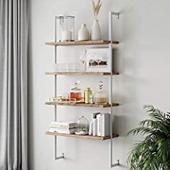 This floating  4-tier space saver bookcase has an industrial look inspired by a minimalist style with its natural warm wood finish and metal pipe frame This open-space Theo storage wall shelf combines function with design and has a keyhole wall mount...
