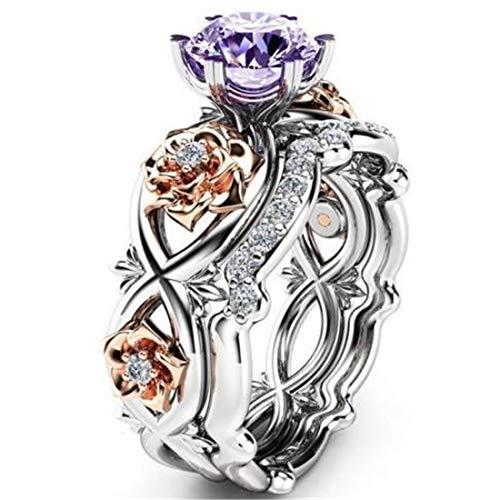 Juego de diamantes de cristal con piedras preciosas, anillo de rosa para mujer, anillo de compromiso vintage, anillo de boda, para mujer, color morado