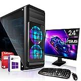 AMD Ryzen 3 2200G 4x3.7GHz Komplett PC-Paket Set mit 24 TFT - Monitor/Tastatur Maus | 16GB DDR4 |256GB M2 SSD und 1TB Festplatte | Win10 | WLAN | Gamer pc Computer komplettpaket Rechner Leise