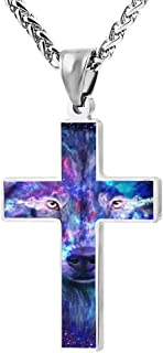 3D neon night light galaxy wolf Cross Necklace For Men And Women, Black Zinc Alloy, 24 Inches