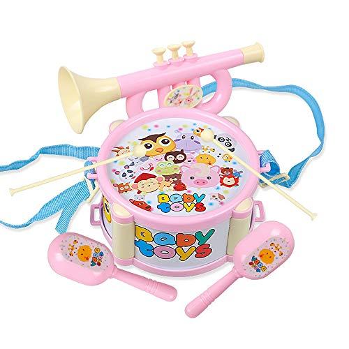 ZXIAQI 6 Stück Musikinstrumente Set, Musical Instruments Spielzeug Schlagzeug, Kinder Schlaginstrument für Kinder im Vorschulalter Mädchen Jungen ab 3 Jahren Geschenke,Rosa