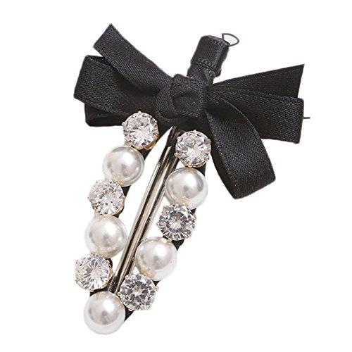 Milopon Pinces à Cheveux Forme de Bowknot avec Strass Charme Coiffure Accessoires Pour Femme Fille Cadeau Anniversaire Noir