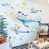 Pegatinas de pared de animales de dibujos animados decoración de la habitación de los niños pegatinas de pintura estéreo 3d-Sky whale_Big