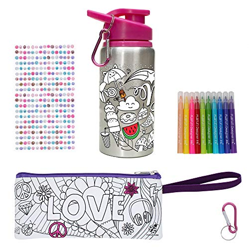 Purple Ladybug Color Your Own Water Bottle for Girls with 10 Bright Markers, Rhinestone Gem Stickers