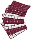 DII Terry Combo Windowpane Dishcloths Absorbant, Multi-Use, Fast Drying and Machine Washable, 12x12', Wine 6 Piece