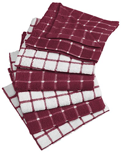 DII Cotton Terry Windowpane Dish Cloths Machine Washable, Absorbant and Multi-Use, 12x12, Wine