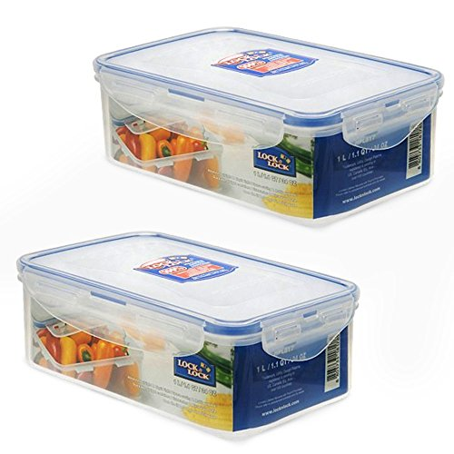 Lock Lock Airtight Rectangular Food Storage Container 3381-oz  423-cup Pack of 2
