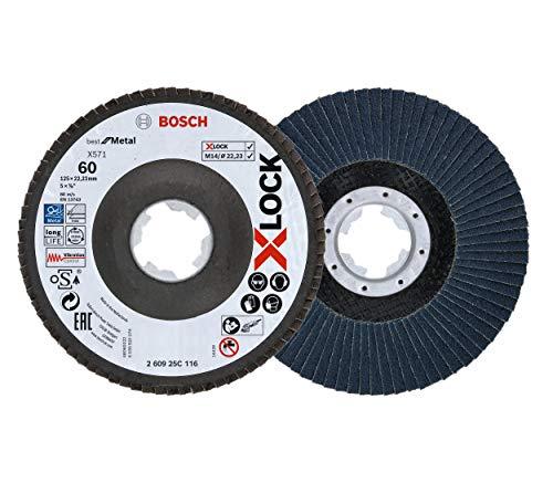 Bosch Professional 2 Stück Fächerschleifscheibe (X-LOCK, Ø 125 mm, Körnung K60, Bohrung Ø 22,23 mm, abgewinkelt, Zubehör Winkelschleifer)