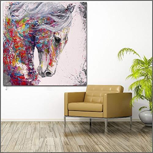 Geiqianjiumai Wandbild Modernes buntes Tieröl Leinwand lebendige Farbe Tierpferdölgemälde rahmenloses Gemälde 50X50CM