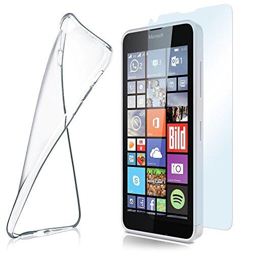 MoEx Custodia in Silicone Compatibile con Microsoft Lumia 640 [360 Gradi] Pellicola Protettiva in Vetro con Cover Posteriore Trasparente per telefoni cellulari Compatibile con Nokia Lumia 640