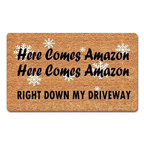 dandan Funny Welcome Mats for Front Door Here Comes Amazon Doormat Right Down My Driveway Christmas Doormat Front Door Mats Non-Slip Hello Mat with Funny Quote Rubber Door Mats18(W) x 30'(L)