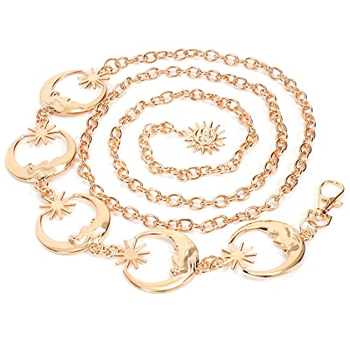 WERFORU Women's Gold Metal Link Moon Star Body Chain Belt Ladies Waist Chain Belt for Jeans Dress (B-Gold, Fit waist size below 47 Inches)