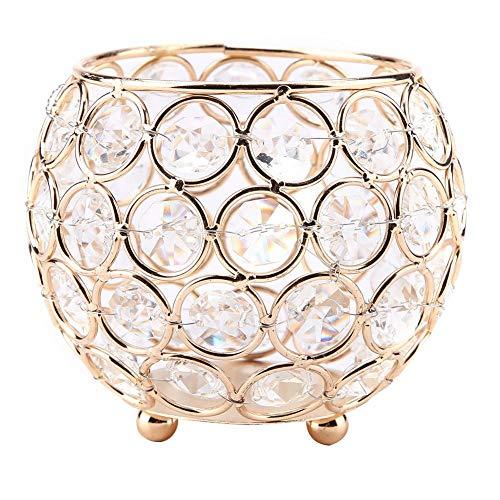 Portacandela in cristallo oro/argento per candele votive, porta pennelli da trucco, portapenne, vaso per matrimonio, elegante e originale regalo per lauree, compleanni, anniversari, Gold