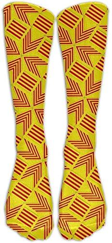 Zeer elastisch, duurzaam, flexibel, Catalonië vlag Artascope bloem compressie sokken voetbal sokken hoge sokken lange sokken 50 cm
