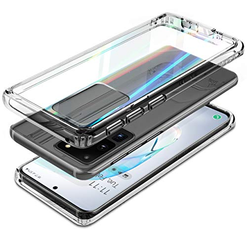 """VVUPIC for Samsung Galaxy S20 Ultra Case Clear Slim Aurora Prism Iridescent Glass Back Transparent Back Shockproof Rugged Hybrid Case Cover 6.9"""" 2020 Only"""