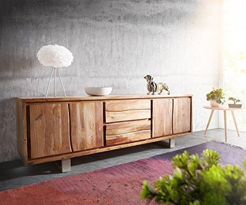 DELIFE Fernsehtisch Live-Edge Akazie Natur 200 cm 4 Türen 2 Schübe Baumkante Lowboard