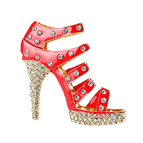 JewelBeauty Large Size Crystal High Heel Shoe Keychain Ladies Fashion Stiletto Shoe Handbag Charm Rhinestone Purse Charm Keyring Car Bling Keychain for Women (red)