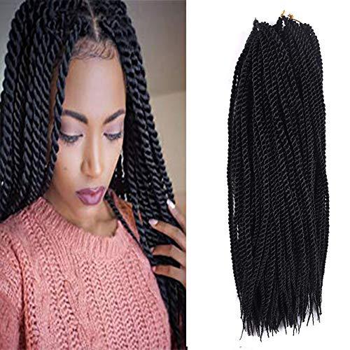 Senegalese Twist Crochet Hair Braids Hairstyles Twist Crochet Braiding Hair for Black Women 90strands/pack Small Braids hair Extensions(18inch 3pcs, Black Color)