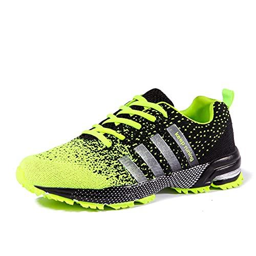 Aerlan Straßenlaufschuhe,Zapatillas de Deporte al Aire Libre, Hombres, Mujeres, Pares de Zapatos para Correr Transpirables-Green_40,Calzado Deportivo para Hombre y Mujer