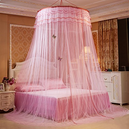 Gemvie Bed Canopy Curtain Mosquito Net Queen&King Size Full Coverage Lace Dome Mosquito Nettings Bed Canopy Pink